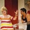 Djamel Mehnane and Chantal Ladesou in Les Amazones funny theatrical play
