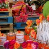 Colorful scented candles and artificial flowers at Garden Show Beirut